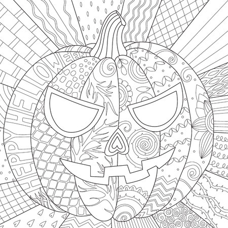 Coloring pages for adults with pumpkin
