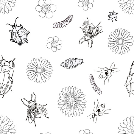 black and white seamless pattern with beetles, flies, caterpillars, cockroach, ants, pupa and flowers.
