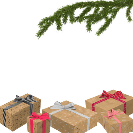christmas background with spruce branch and gifts under it 3d