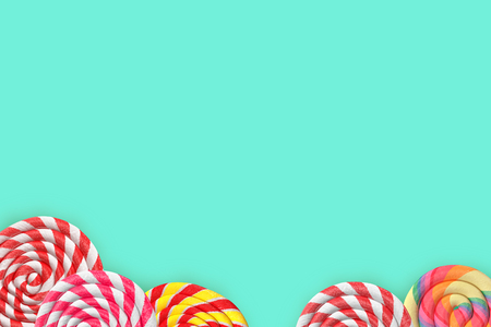 mint background with lollipops 3d