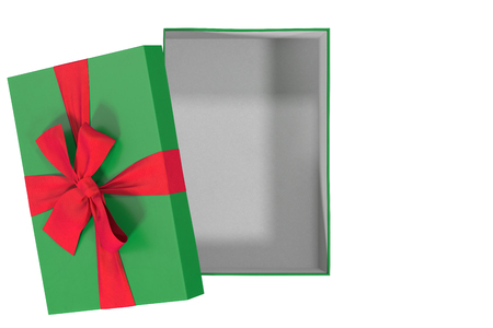 green open gift box isolated on white, top view, 3d