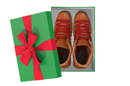 trekking shoes in a box, 3d Stock Photo
