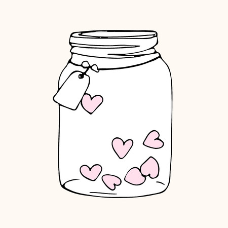 glass jar with hearts, doodle sketch