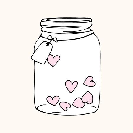 tarro de cristal con corazones, bosquejo del doodle