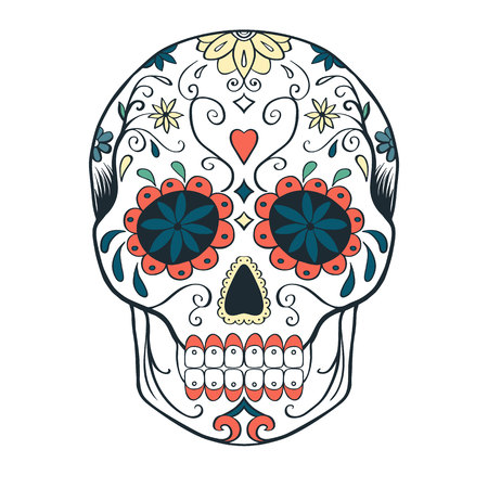 Sugar skull, vector illustration. Stock Illustratie