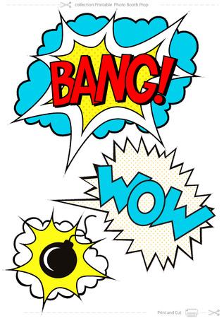 Set di fumetti comici, parola BANG, WOW, oggetti di scena per foto Booth