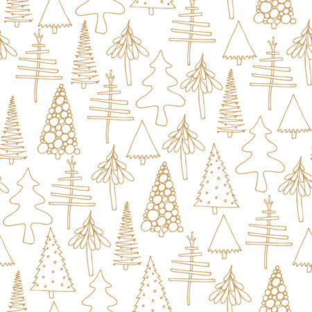seamless pattern with Christmas tree doodles Illustration
