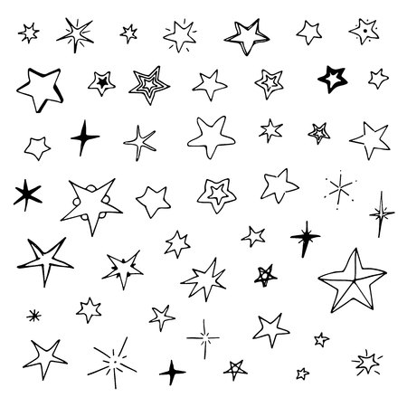 hand drawn stars set, big collection of doodle stars