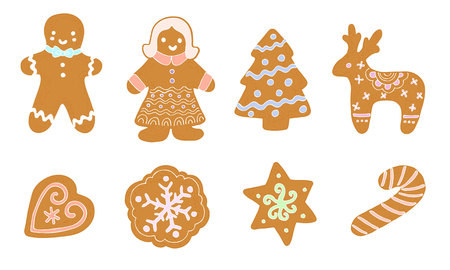 set of christmas cookies, cartoon style, vector Illustration