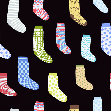 seamless pattern with cartoon socks on a black background 일러스트