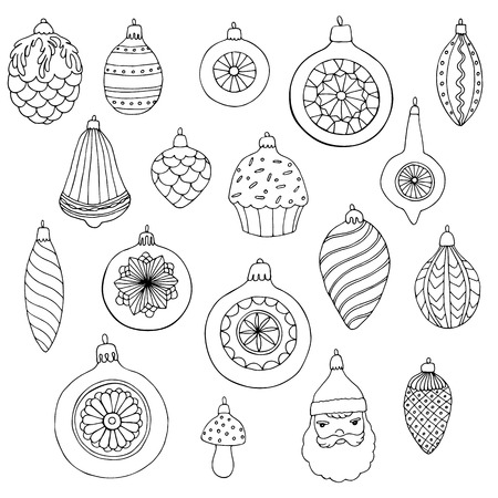 hand drawn christmas toys set, antistress coloring page