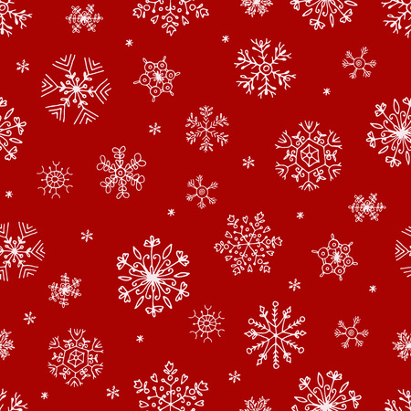 seamless pattern with white snowflakes on red, seamless pattern with white snowflakes on red