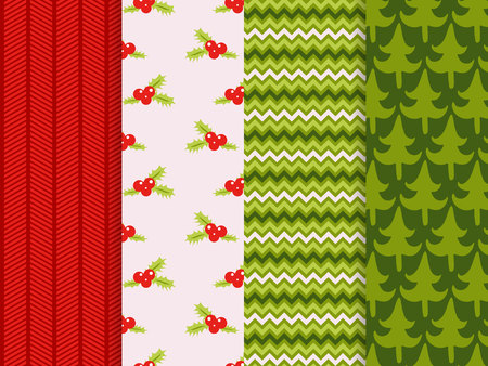 Christmas seamless patterns set vector background