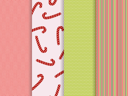 set of trendy seamless patterns, christmas vector backgrounds