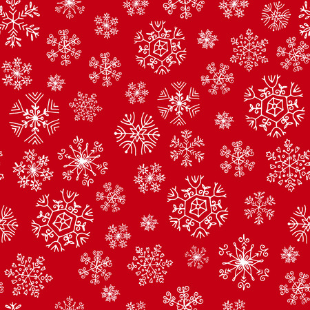 seamless pattern with white snowflakes on a red background
