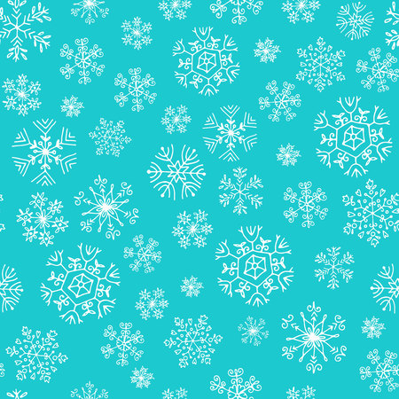 seamless pattern with white snowflakes on blue 일러스트