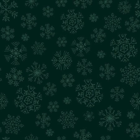 seamless pattern with green snowflakes on dark green