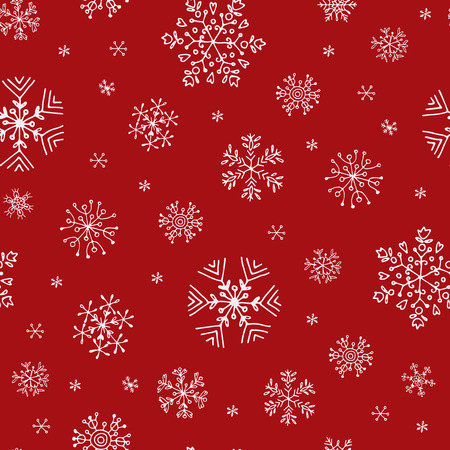 seamless pattern with white hand-drawn snowflakes on red