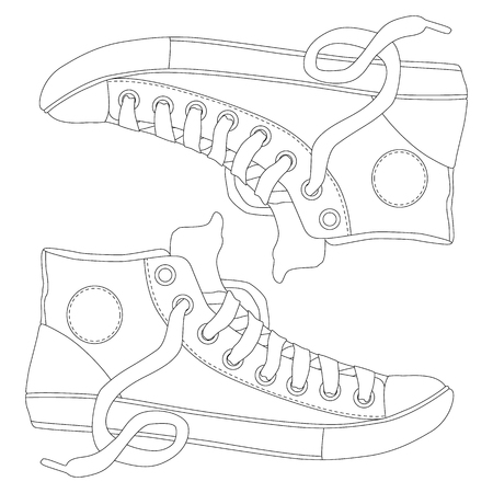 hand drawn pair of sneakers, coloring page for adults