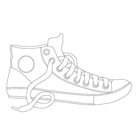 par de zapatillas, página para colorear para adultos
