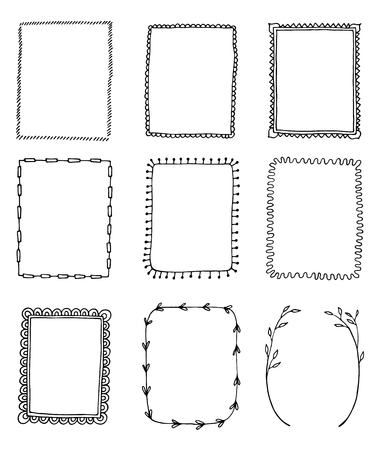 ensemble de cadres de doodle dessinés à la main