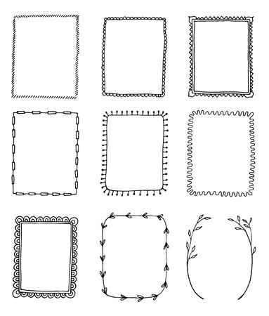 set handgetekende doodle frames