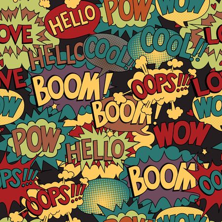 seamless pattern with bubbles for speech comic texture