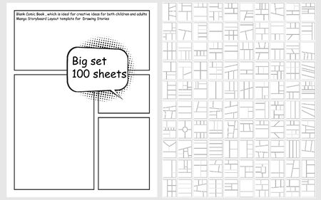 Vector Blank Comic Book set for Creating Stories 100 designs