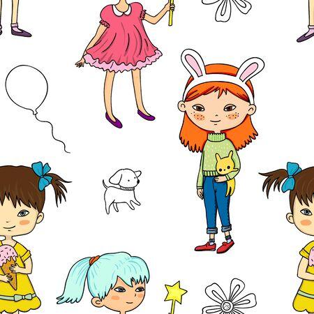 seamless pattern with cute cartoon girls Vettoriali