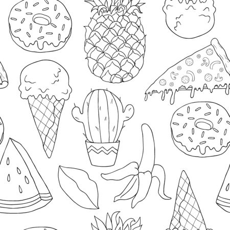 black and white seamless linear pattern with cactus, ice cream, banana, pineapple, pizza