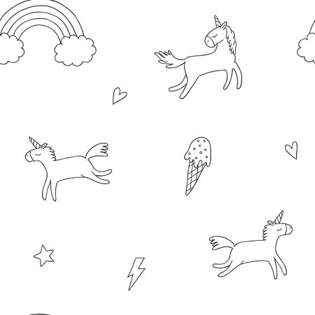 linear seamless pattern with unicorns and rainbow. Black-white background in cartoon characters.