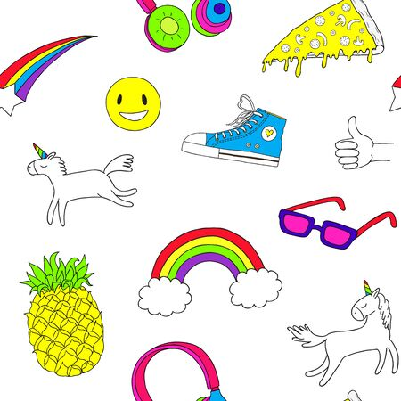 Cute objects seamless pattern. Pins, stickers. Fashion patch badges Seamless pattern