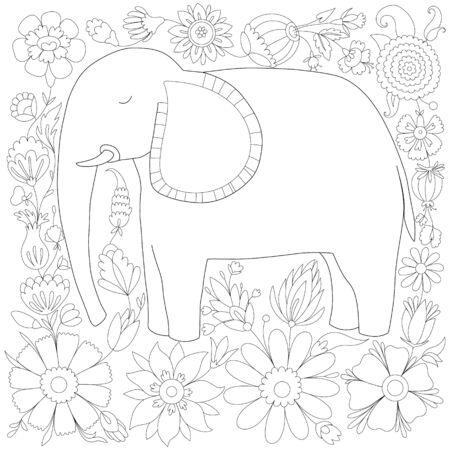 antistress coloring elephant on a floral background Ilustração Vetorial