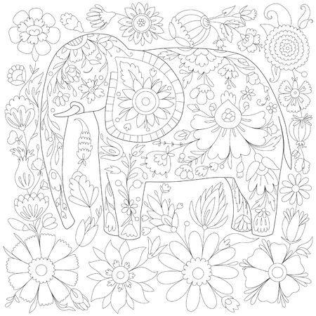 antistress coloring book with elephant, coloring book for adults