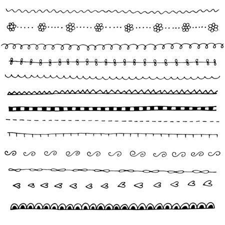 Collection of hand drawn line borders, Set of floral ornaments and waves. Vector illustration. Vettoriali