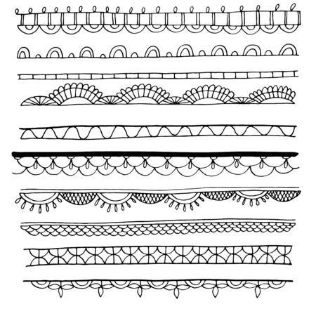 set of decorative hand drawn border Vecteurs