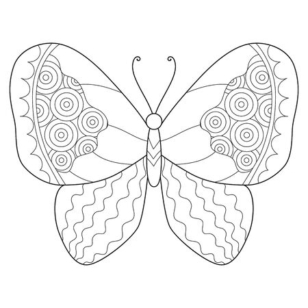 Back and white hand drawn butterfly on white background.