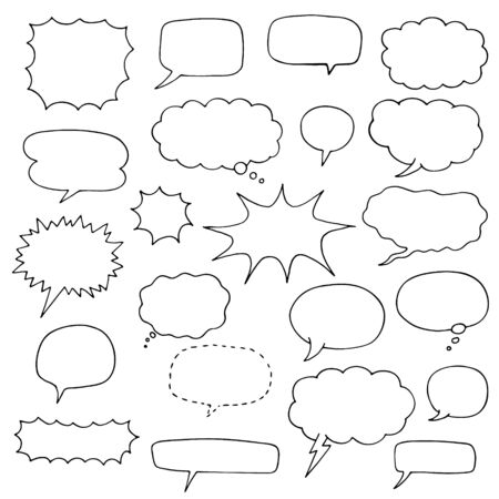 set of speech bubble doodles. collection of comic elements Foto de archivo