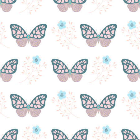 seamless pattern with butterflies and flowers. Design for fabric, textile, wrapping