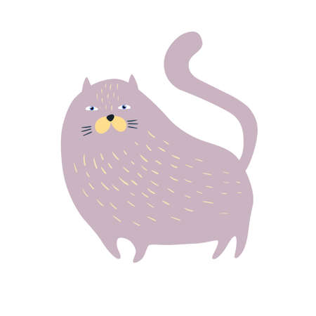 Cute cat isolated on white. Flat style. Vector illustration