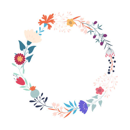 Stylized flowers and branches. Wreath, round floral frame. Flat style. Wedding decorations