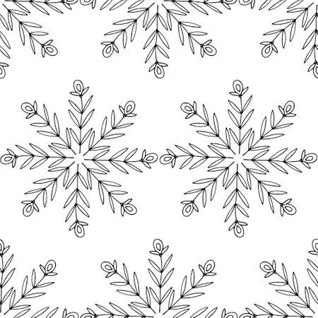 Seamless pattern with doodle snowflakes. Hand drawn floral elements