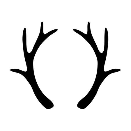 Deer antlers silhouette isolated on white background. Horns icon