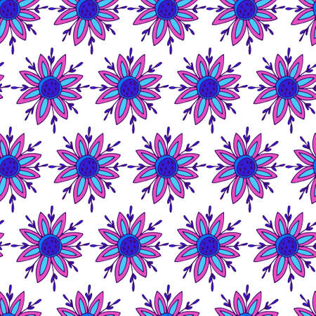 Seamless doodle floral pattern. Bright flowers on white background