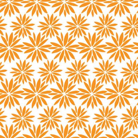Autumn botanical seamless pattern. Orange flowers on white 向量圖像