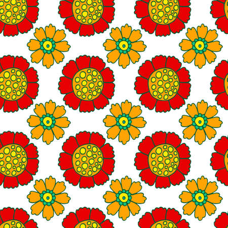 Vector bright print for fabric or wallpaper. Colorful floral seamless pattern