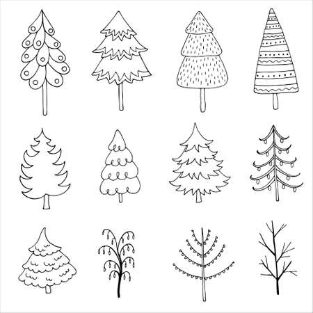 Set of hand drawn trees and fir trees