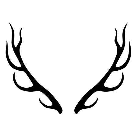 Deer antlers silhouette isolated on white background. Horns icon 向量圖像