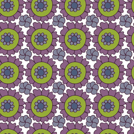 Bright seamless pattern with hand drawn doodle flowers. Vector bright print for fabric or wallpaper.