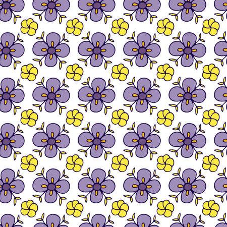 Vector hand drawn botanical illustration. Floral Seamless Pattern. Folk flowers